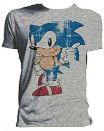 SOnic The Hedgehog distressed look retro T-shirt