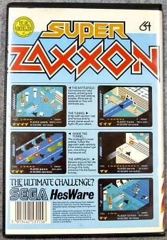 Super Zaxxon cassette case rear for the Commodore 64