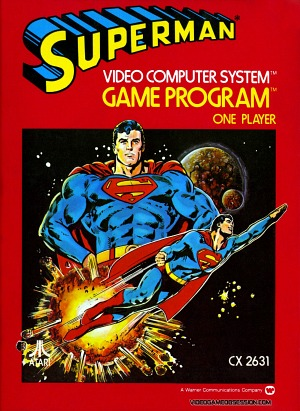 Superman front artwork - Atari 2600 cartridge