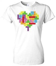 Retro Tetris Puzzle Game Loveheart T-shirt for women