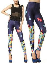 80s Tetris Blocks Footless Leggings Tights