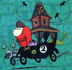 The Gruesome Twosome driving the Creepy Coupe in Wacky Races