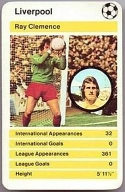 Ray Clemence - Liverpool Goalkeeper - Top Trumps Card