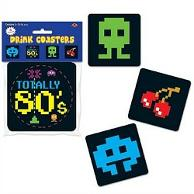 80s Drink Coasters with retro gaming theme