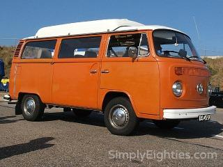Orange VW Type 2 (T2) camper/bus