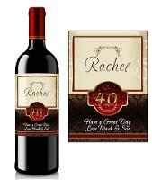 Personalised 40th Birthday Wine Label