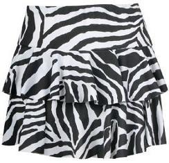 Women's 1980s Zebra Animal Print Ra-Ra Skirt