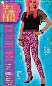 Zebra Print Stirrup Pants for 80s Fancy Dress