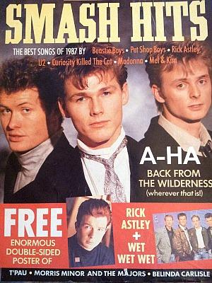 a-ha on the cover of Smash Hits January 1988