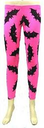 Neon Pink - Black Bats Leggings