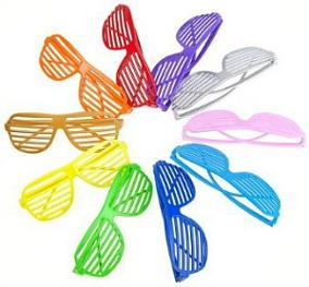 10 pairs of neon coloured 80s shutter shades