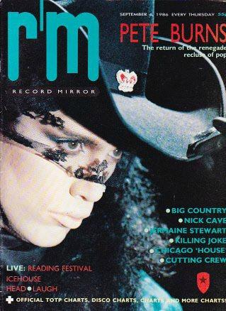 Pete Burns on the cover of Record Mirror in September 1986