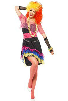 51aefd306fb7d This colourful outfit by Smiffys has a style reminiscent of Cyndi Lauper's  look in the 1980s. The fiery wig, beads, bangles and fishnet tights/gloves  are ...