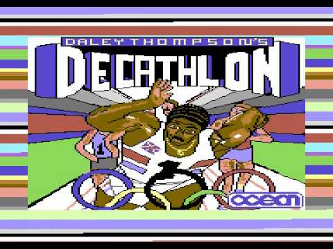 Daley Thompson's Decathlon title screen on C64