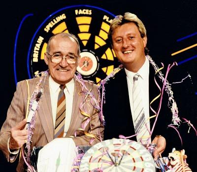 Jim Bowen with Eric Bristow on Bullseye