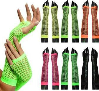 Long Fingerless Neon Fishnet Gloves