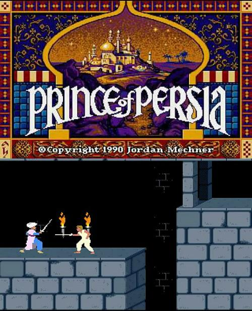 Prince of Persia (1990) MS-Dos PC title screen and screenshot of gameplay