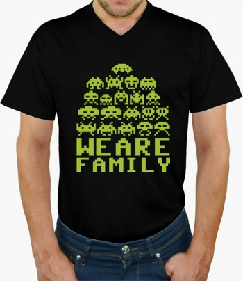 We Are Family Space Invaders V Neck T-shirt