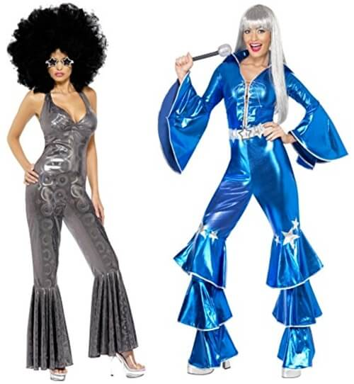 Disco Diva Costume 70s Catsuit Jumpsuit Adult Womens Ladies Fancy Dress Outfit