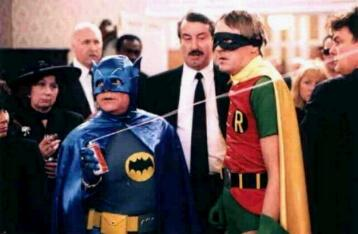 Del and Rodney as Batman and Robin in Heroes and Villains