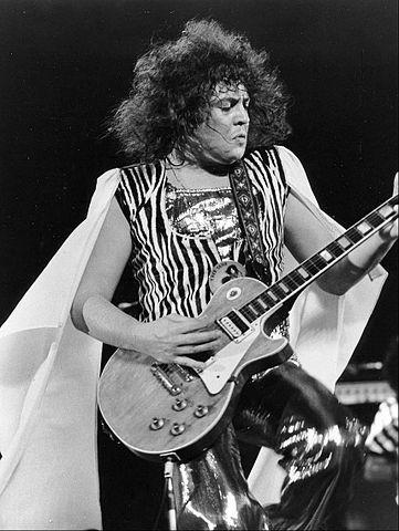 Marc Bolan (T Rex) playing electric guitar in 1973