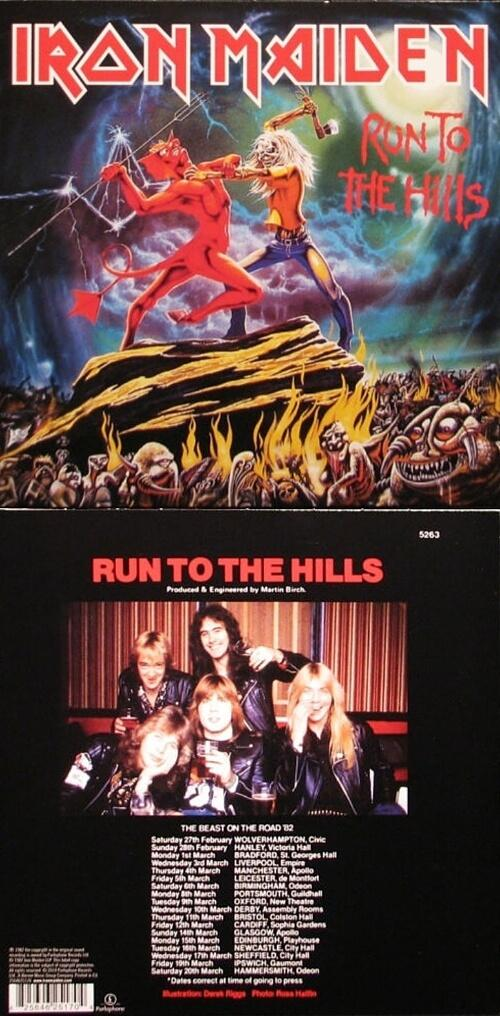 Run To The Hills 7 inch vinyl sleeve (1982) - Iron Maiden