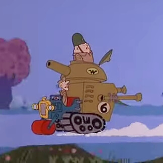 Sergeant Blast and Private Meekly in The Army Surplus Special - Wacky Races
