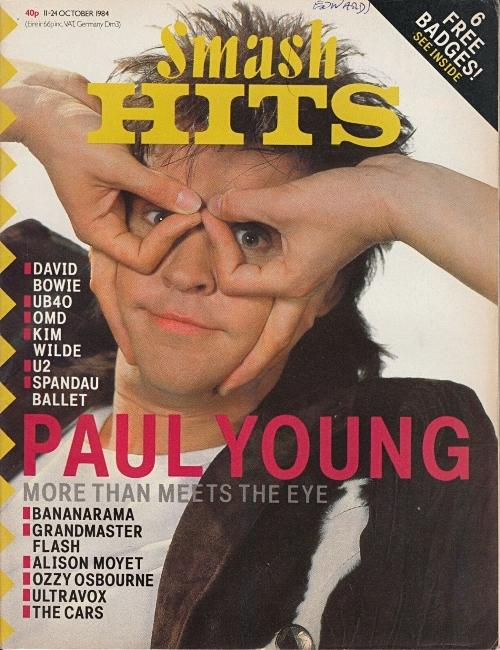 Paul Young on the cover of Smash Hits 11-24 October 1984