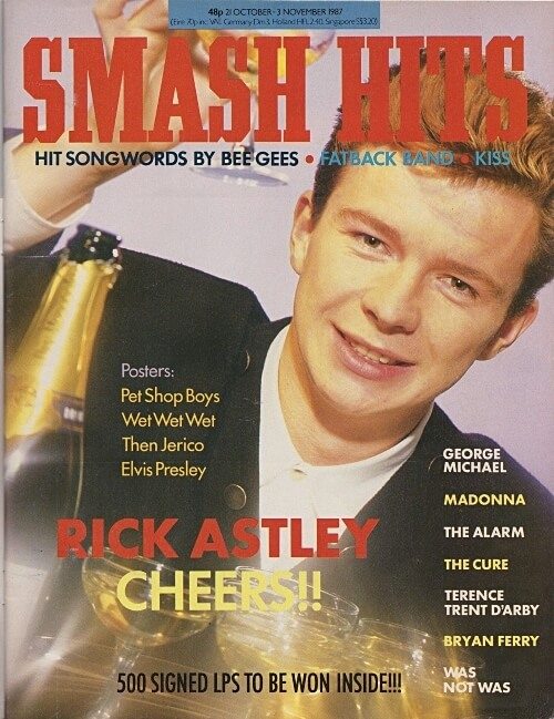 Rick Astley on the cover of Smash Hits October 1987