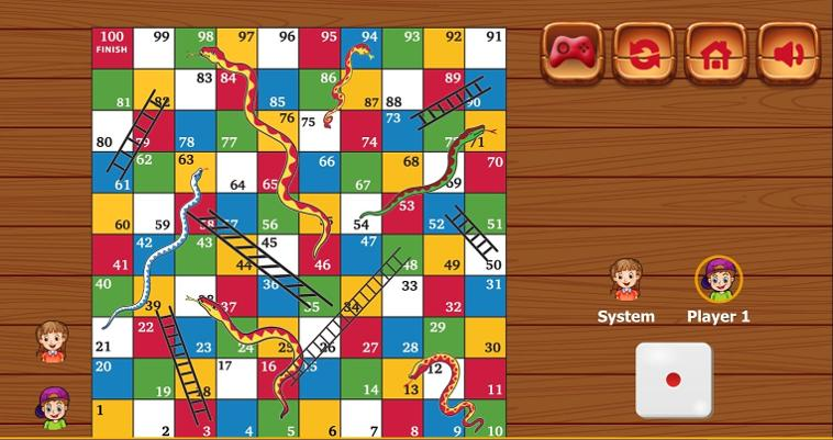 Snakes and Ladders online HTML5 game (screenshot)