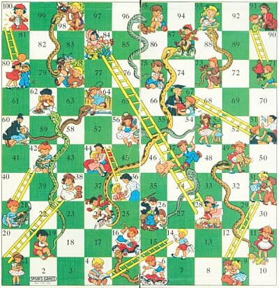 Snakes and Ladders 1980s board game by Spears