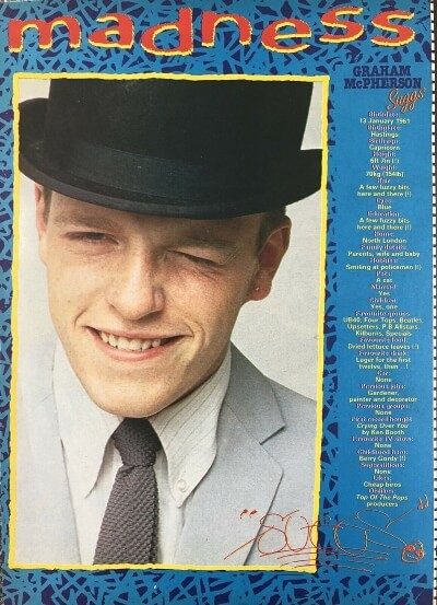 Graham McPherson (Suggs) poster from Look-In No.46 13 Nov 1982.