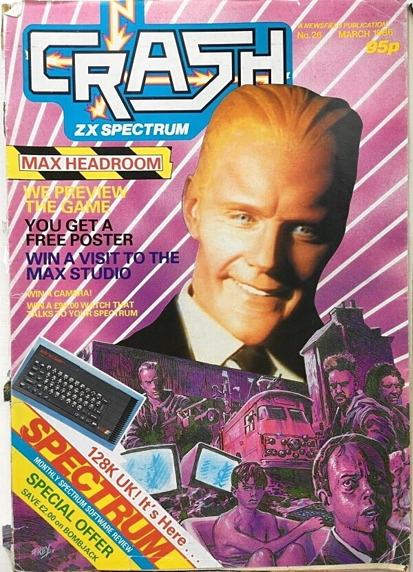 Crash ZX Spectrum magazine March 1986 ft.Max Headroom on the front cover