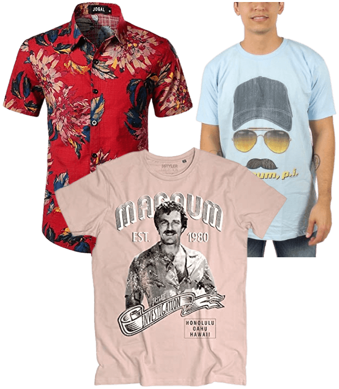 JUN 4 - MAGNUM P.I. T-SHIRTS and Hawaiian Shirts. Pay homage to the classic 80s TV series set in Hawaii and starring Tom Selleck.
