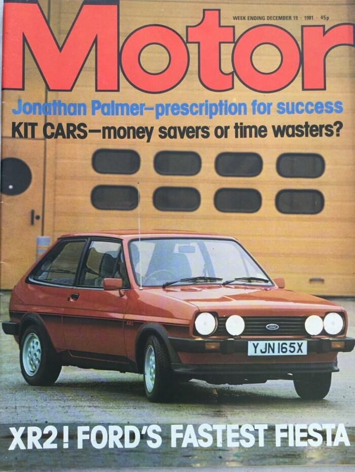 Red Fiesta XR2 on the front cover of Motor Magazine Dec 19 1981