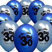 30th birthday party balloons blue