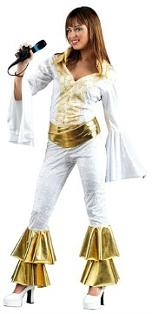 ABBA gold and white 70s disco jumpsuit