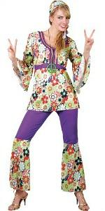 70s Hippy Woman floral pattern costume