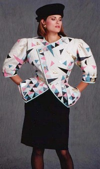 80s style Padded Jacket with geometric shapes design