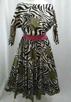 Original 80s Zebra Print and Cheese PLant Print Dress with batwing sleeves