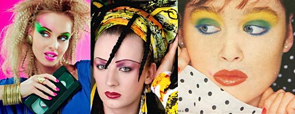 Heavy 80s make-up collage