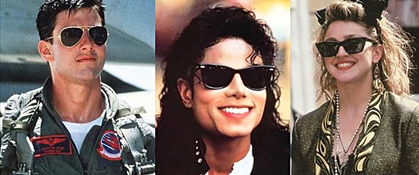 80s ray-ban sunglasses - Tom Cruise, Michael Jackson and Madonna
