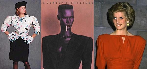 80s Shoulder Pads collage inc. Grace Jones, Princess Diana.