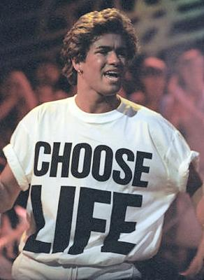 George Michael wearing a Choose Life T-shirt in the 80s