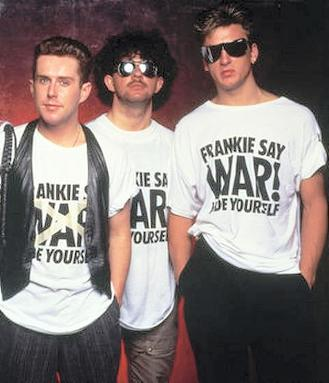 Holly Johnson,.Peter Gill and Mark O' Toole wearing Frankie Say War! Hide Yourself T-shirts
