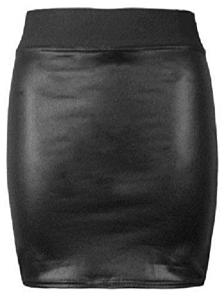 Faux leather black mini skirt