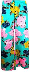 Aqua Flowery Floral Palazzo Pants for Women