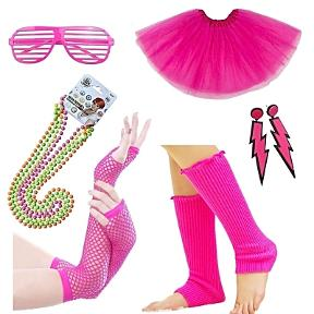 80s Accessories Set for Women - Leg Warmers. Fishnet Gloves, Beads NEcklaces, Lightning Earrings, Shutter Shades, Tutu Skirt