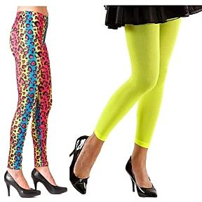 80s Leggings - animal print and neon cropped tights