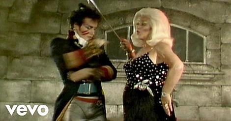 Adam Ant and Diana Dors in the video for Prince Charming